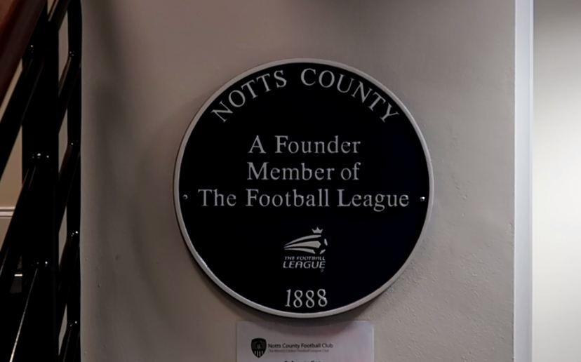 Proudly displayed in the reception of the club, Notts helped form the Football League 131 years ago