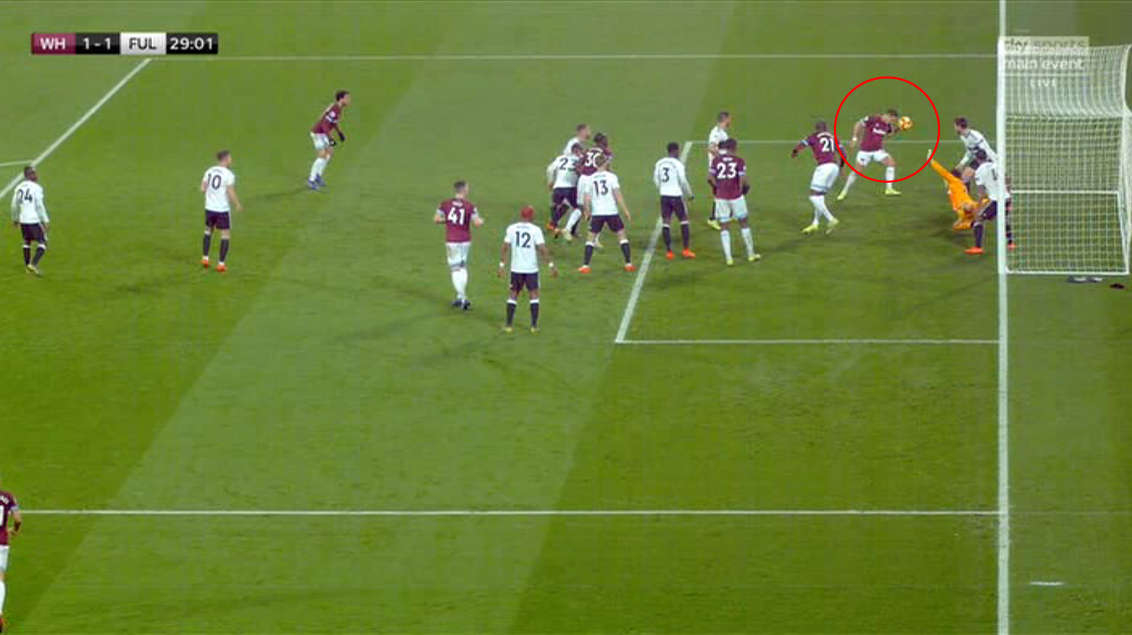 Chicharito headed the ball down onto his hand and watched on as it rolled past a helpless Rico