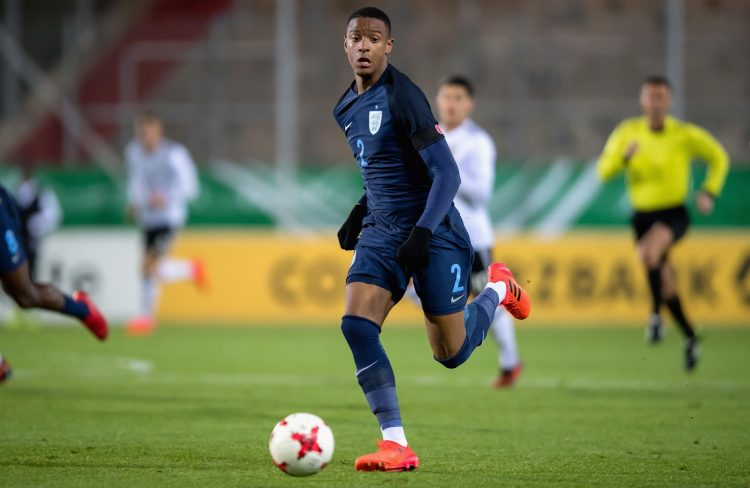 Konsa in action for England U20s