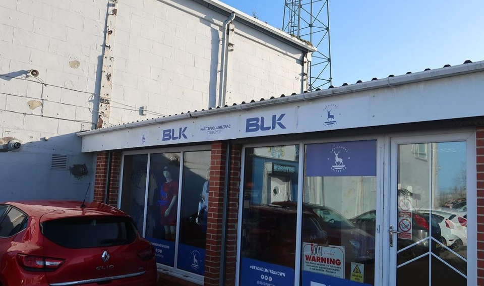 The club shop, tucked in behind the stadium