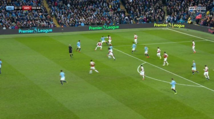 The Arsenal winger was hassled by Aymeric Laporte