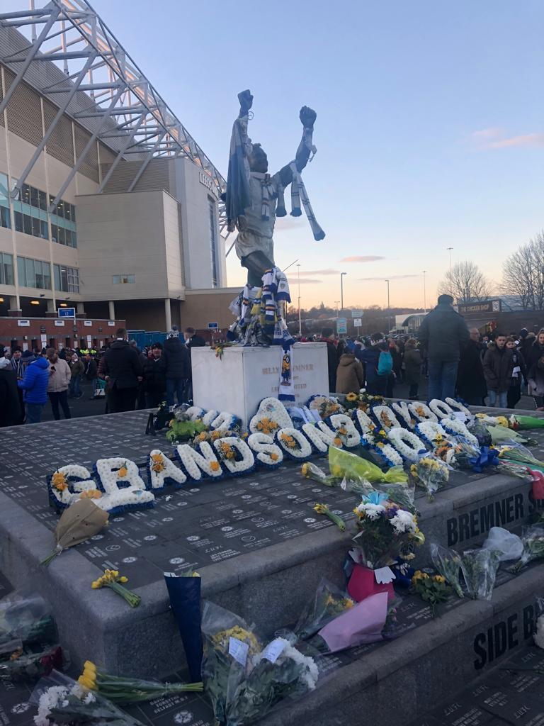 A statue of Billy Bremner stands proudly outside Elland Road