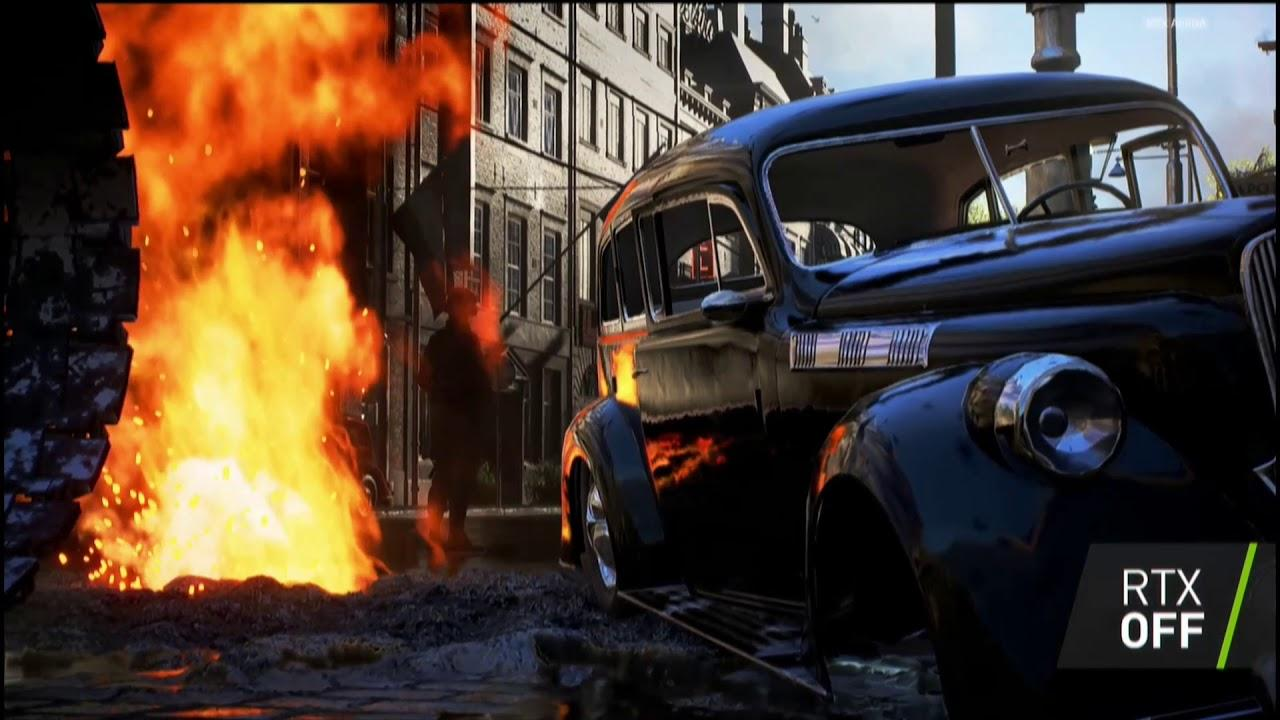 Battlefield V was the first game to use real time ray tracing – here it is with the mode switched off