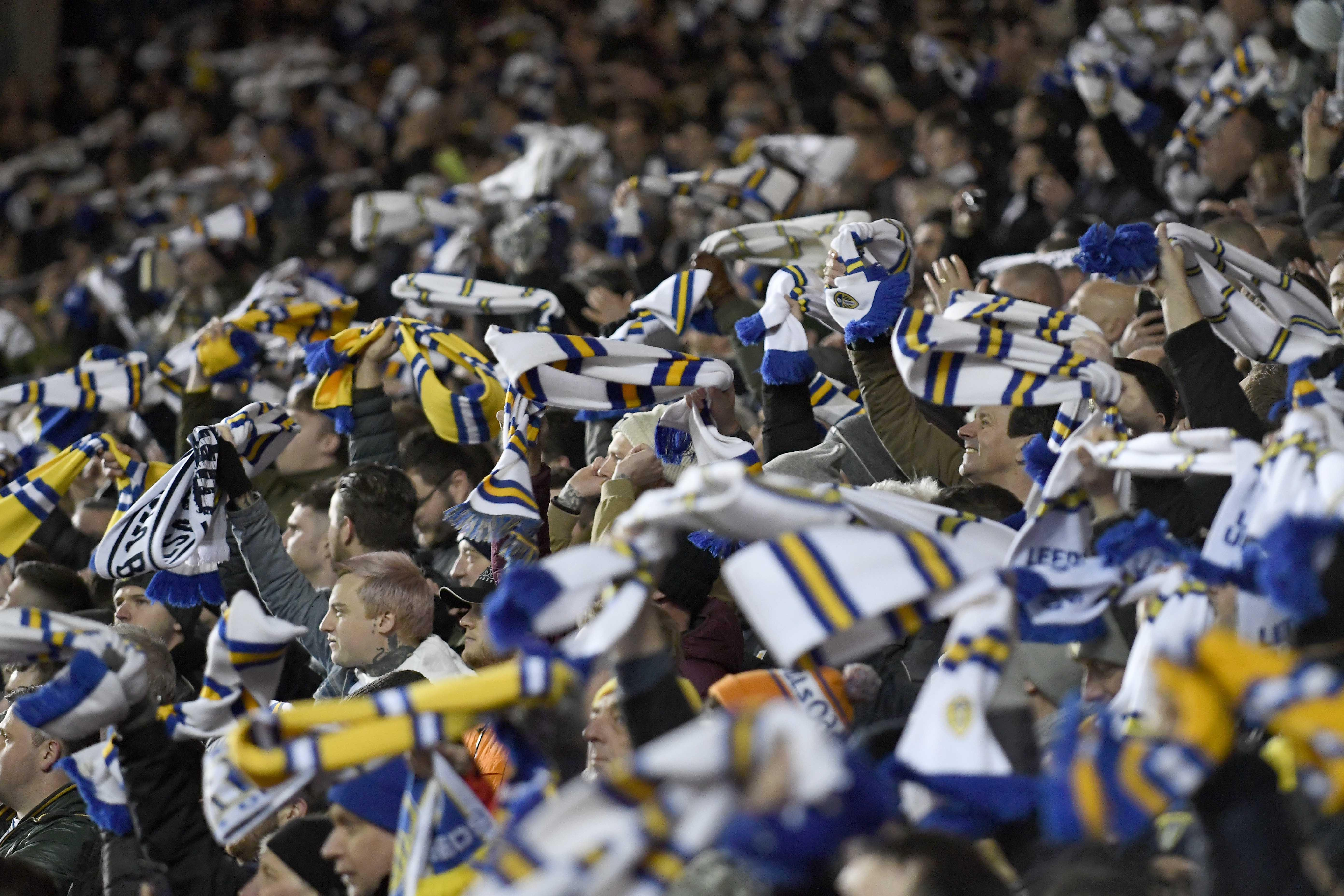 Whirling scarves enhance the atmosphere at Elland Road