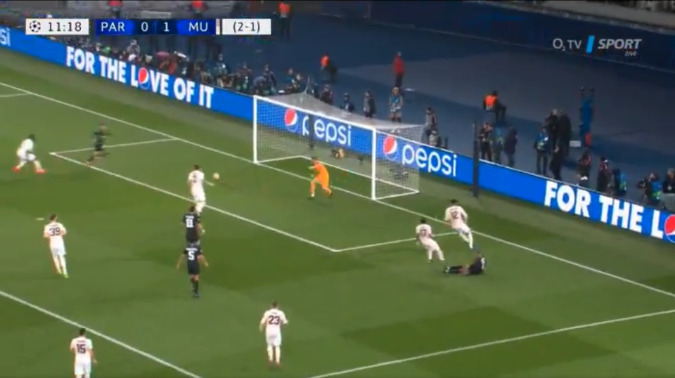 Mbappe fired the ball low across the box and the Spaniard caught the defender napping