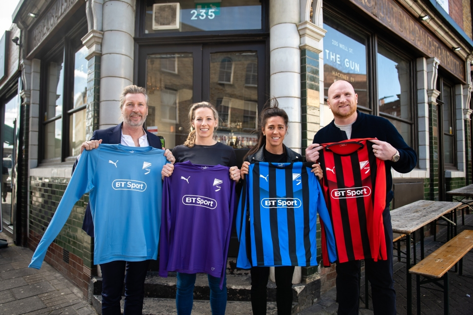 Savage and Hartson with Fara Williams and Rachel Brown-Finnis at the launch of the BT Sport Pub Cup
