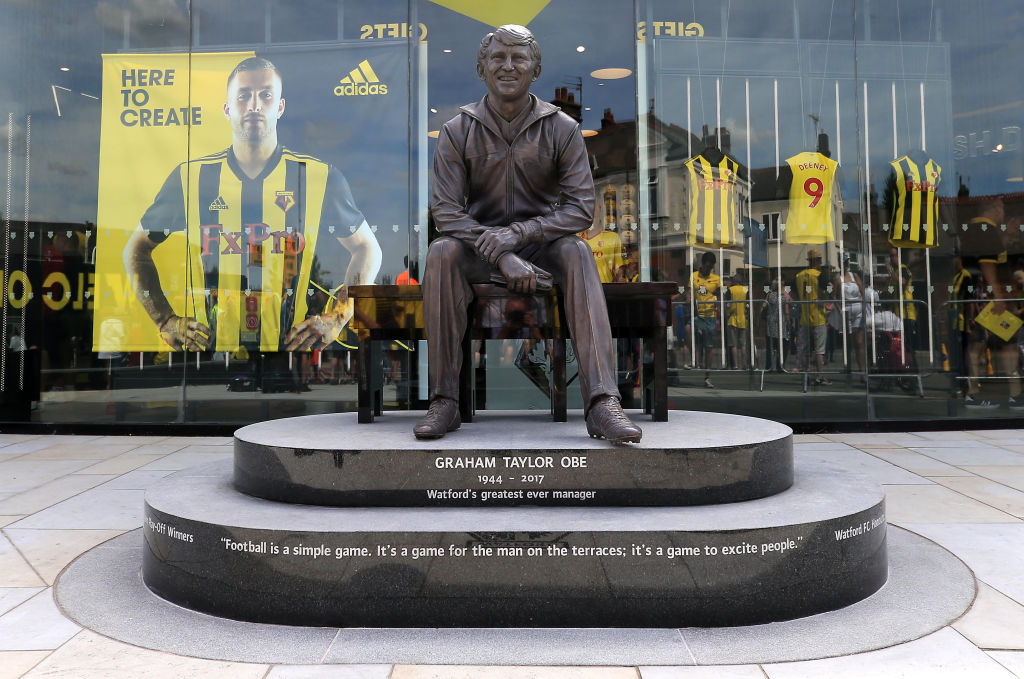 Taylor was immortalised in bronze outside Vicarage Road in 2018