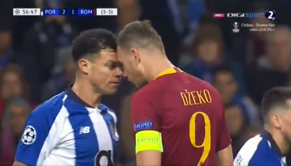 In true Pepe fashion he squared up to the Roma captain and the pair exchanged some choice words