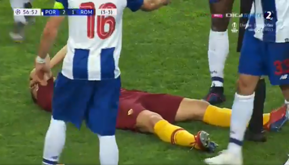 The former Man City striker comically dropped to the floor clutching his face