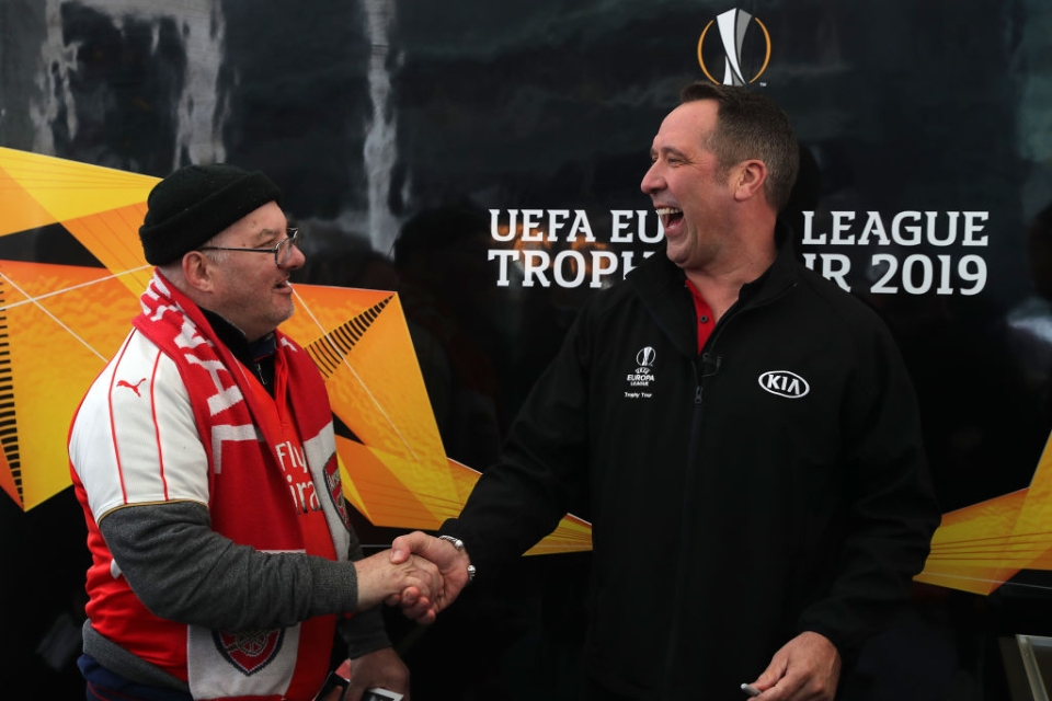 Seaman joined the Europa League trophy tour in London as fans queued to donate their old football boots