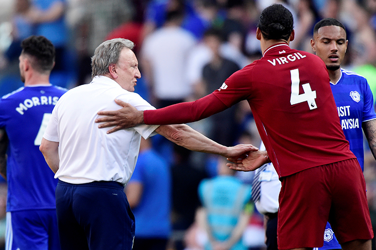 Virgil helps and old lady off the pitch. Lovely to see