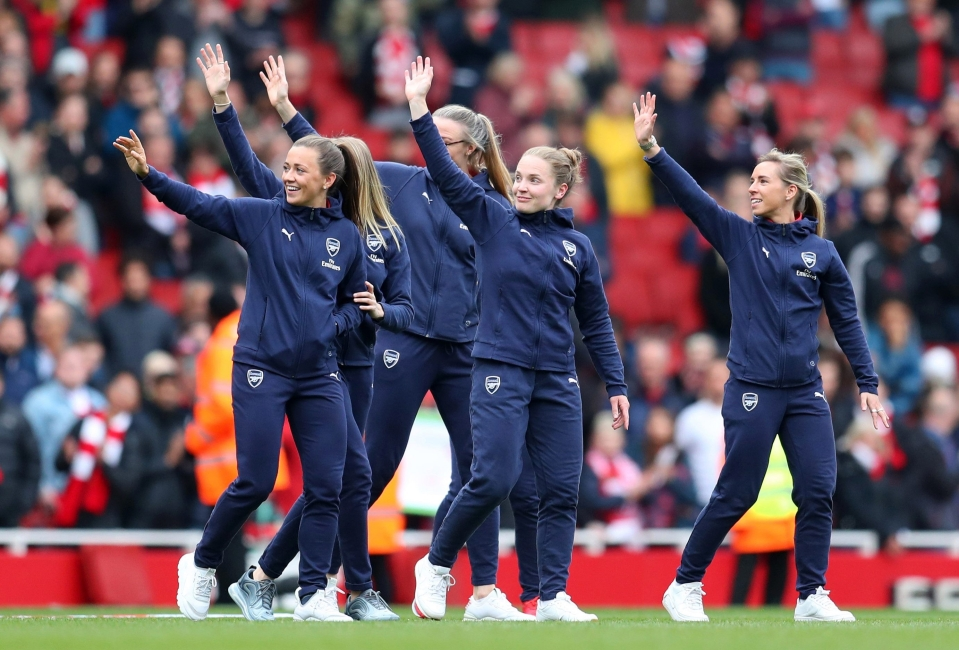 The Arsenal women joined the lap of honour at the last home game at the Emirates
