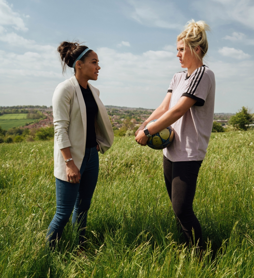 Alex Scott with Millie Bright in her hometown of Killamarsh, Derbyshire