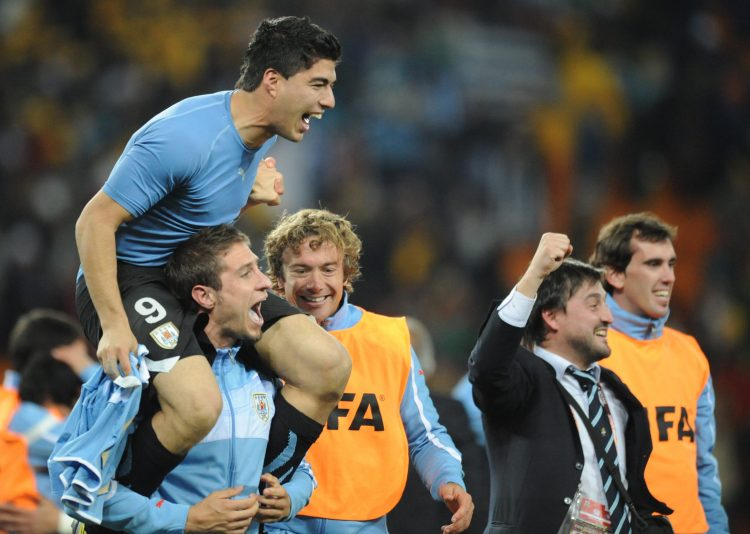 Suarez was treated like the hero by his teammates