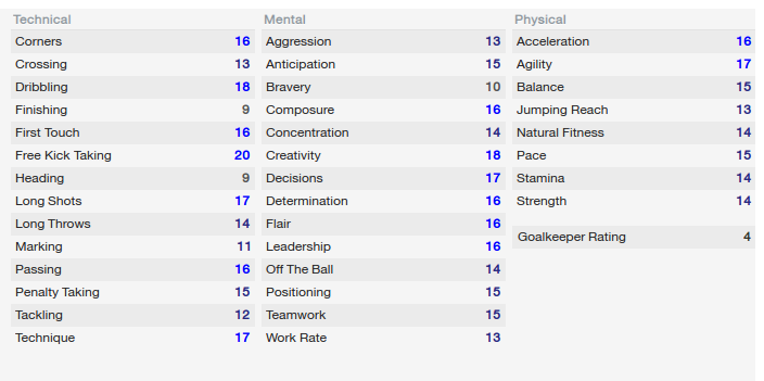 His 'Football Manager 2014' stats by 2020 were insane