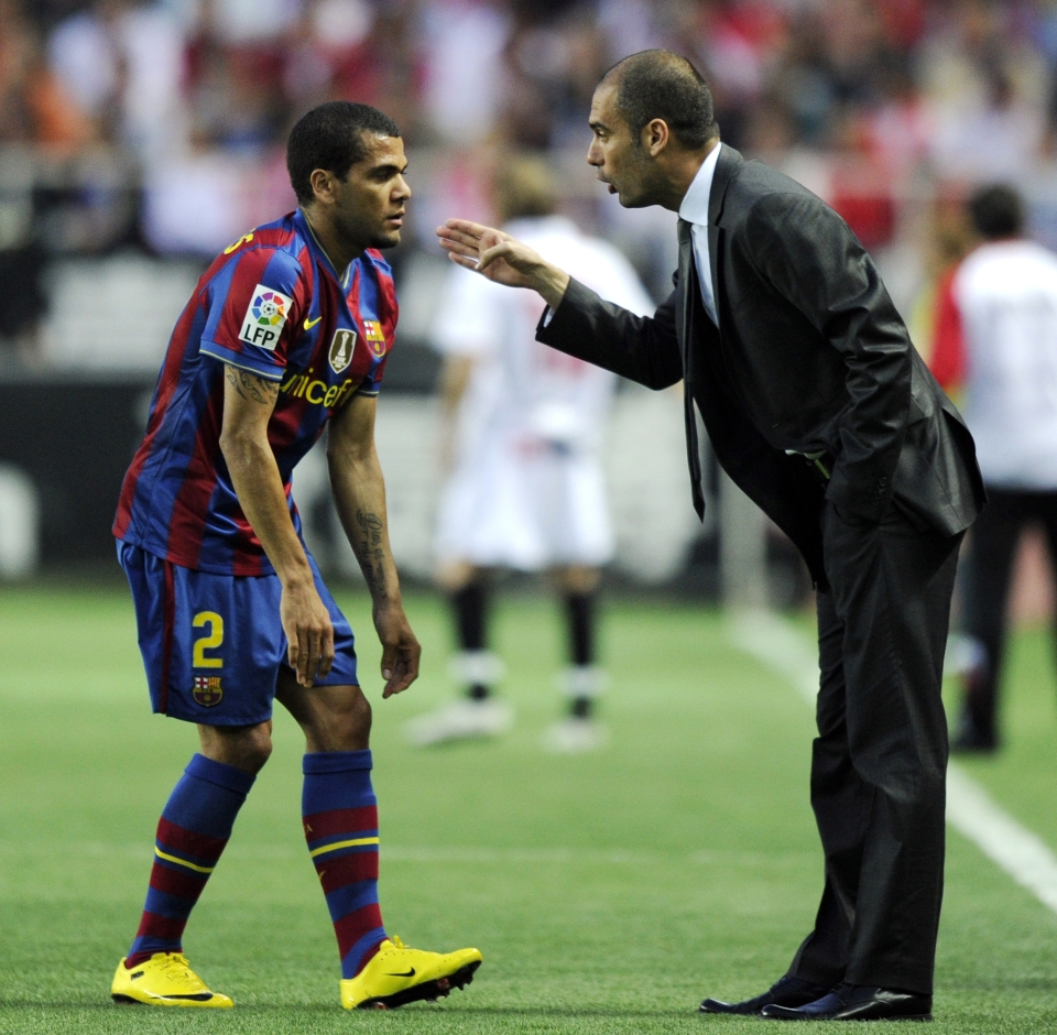Pep and Alves enjoyed tremendous success together at Barcelona