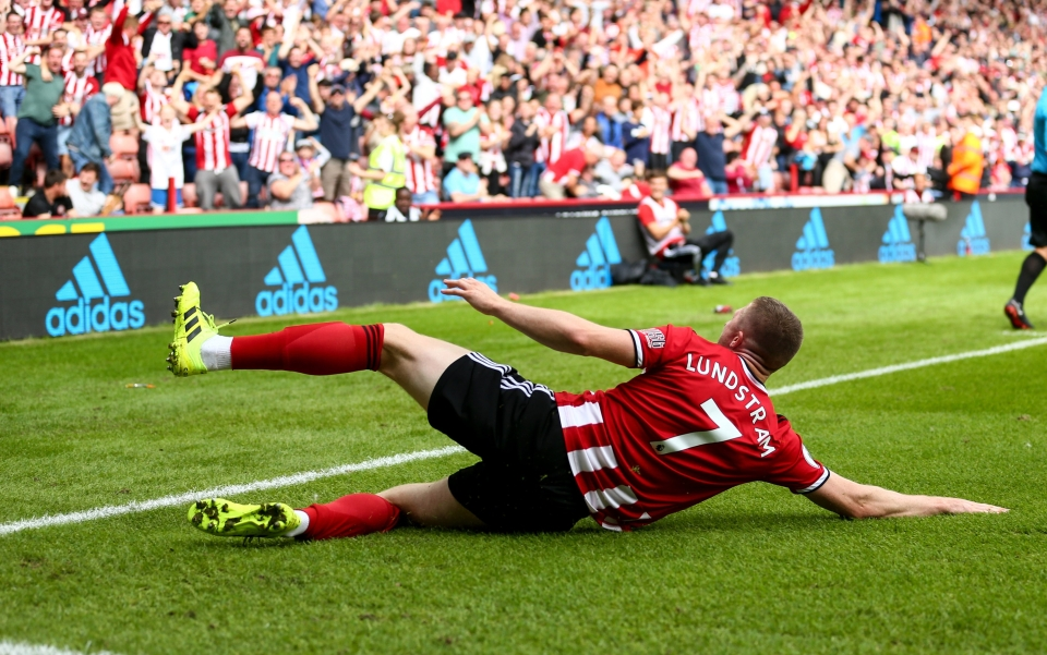 Lundstram celebrates his winner against Crystal Palace