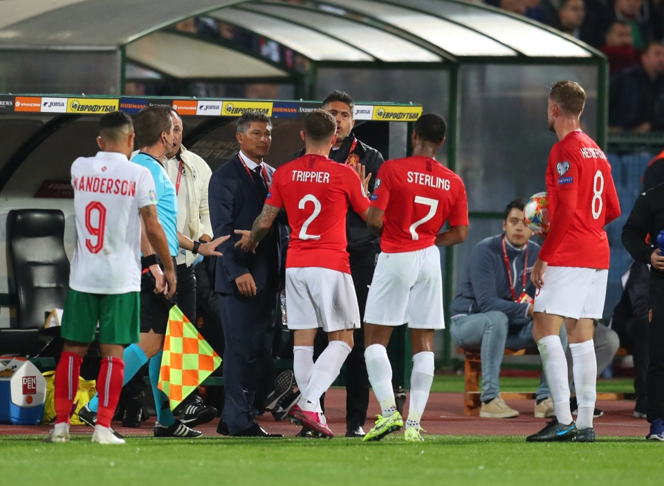 England players confront the Bulgarian bench