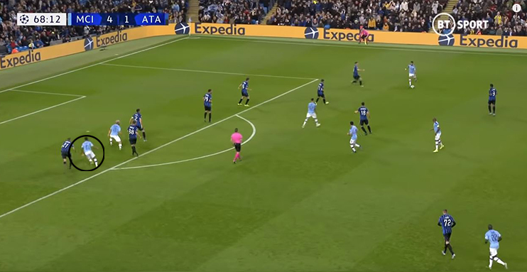 Sterling's movement is too sharp for Atalanta's defence and the goal is scored