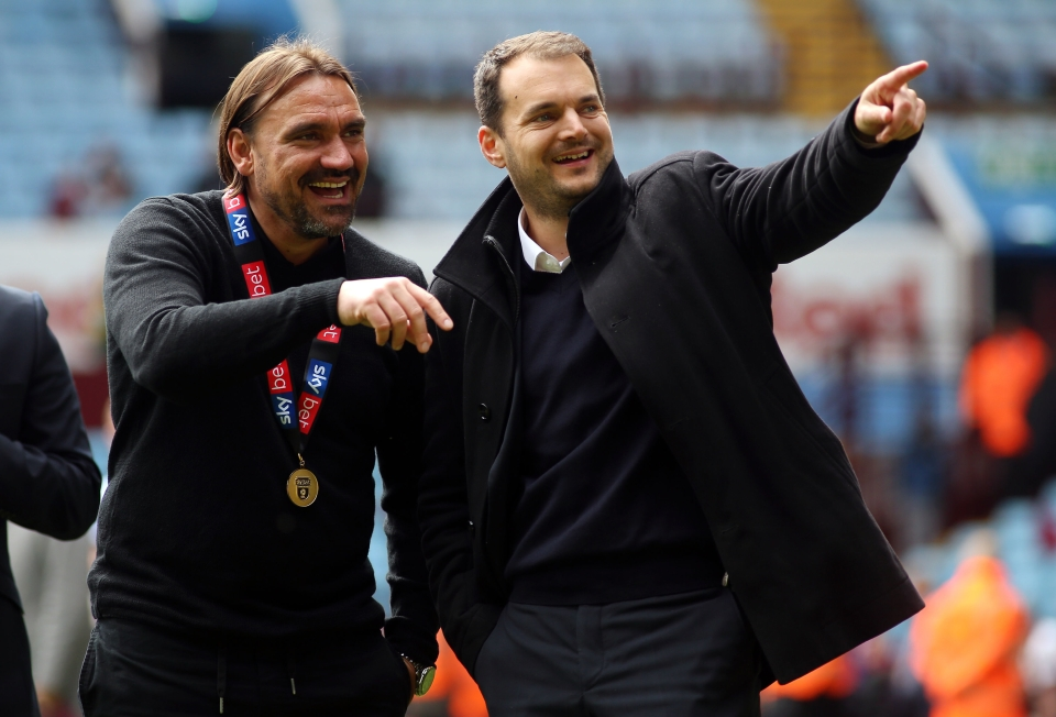 Stuarty Webber with manager Daniel Farke