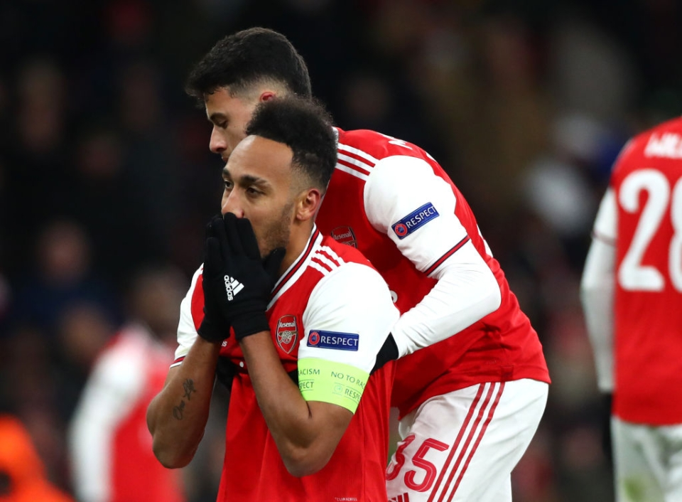 Aubameyang had to be consoled by team-mates after discovering he would not win the award despite being Arsenal's top scorer