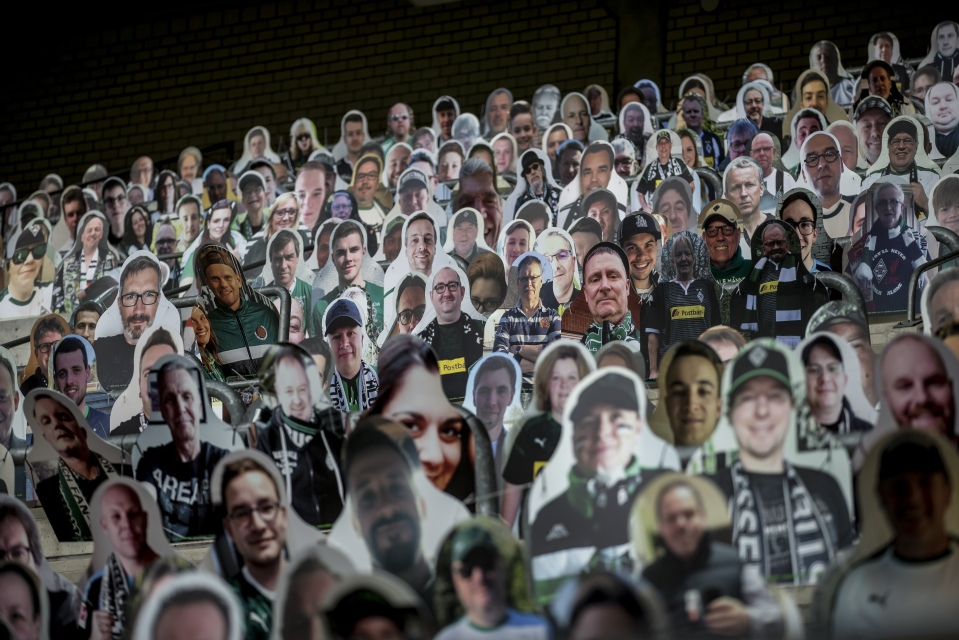 Clubs like Bundesliga side Borussia Moenchengladbach have come up with innovative ways to decorate their stadium, using pictures of fans on the seats