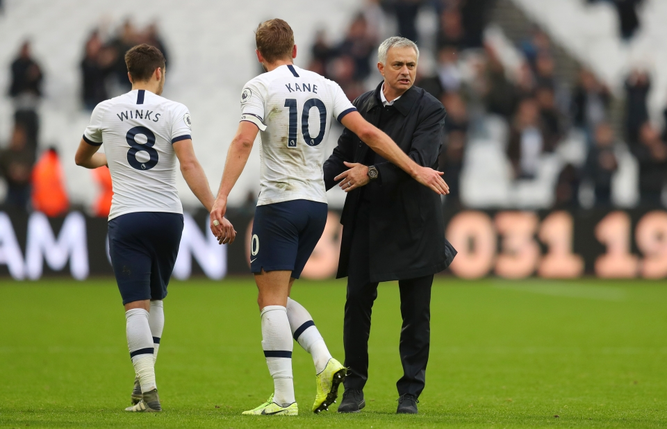Mourinho celebrates his first win as Spurs boss back in November