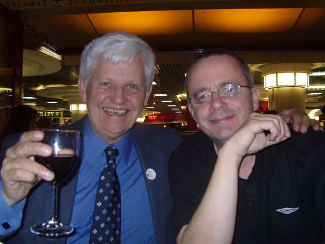 David with his biological father, the legendary Five Live score announcer James Alexander Gordon