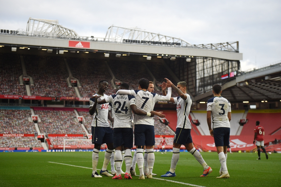 The Spurs boys celebrate at Old Trafford on Sunday