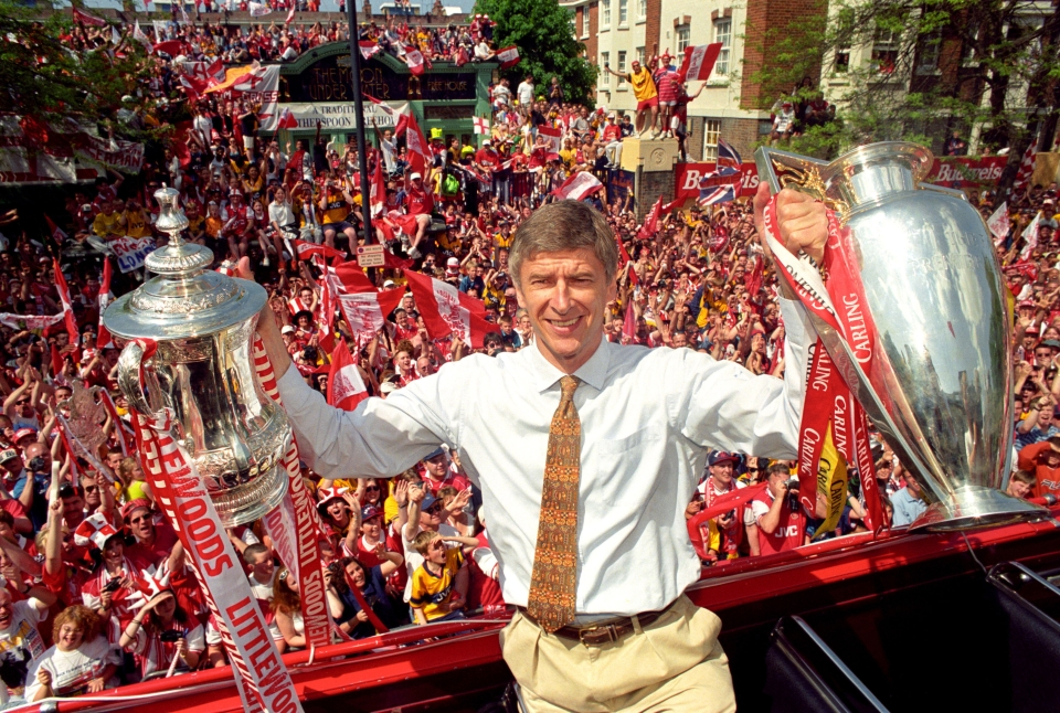Arsenal won the double in Wenger's second season