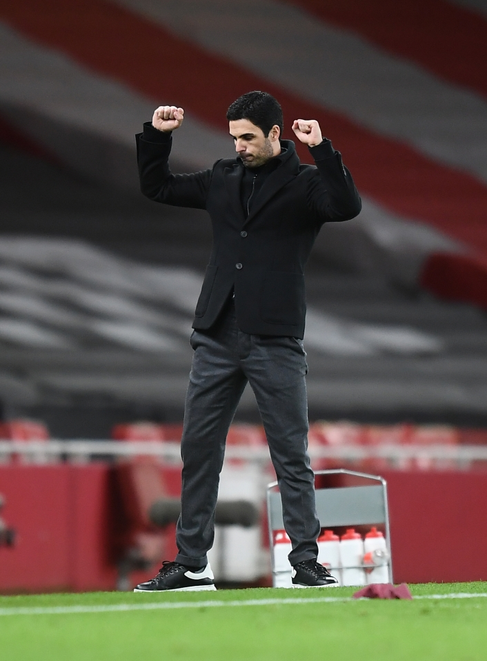 Mikel Arteta was finally able to celebrate after beating Chelsea