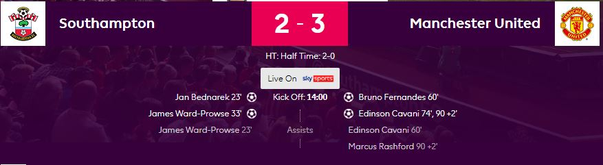 The official Premier League match summary does not credit Fernandes with an assist