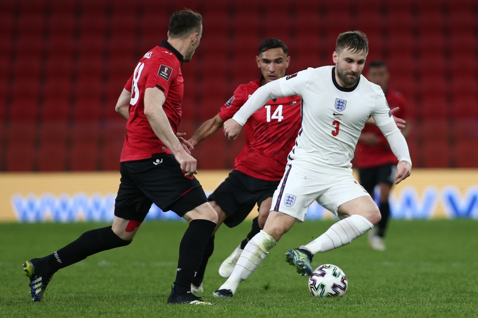 Shaw provided an assist for Harry Kane against Albania