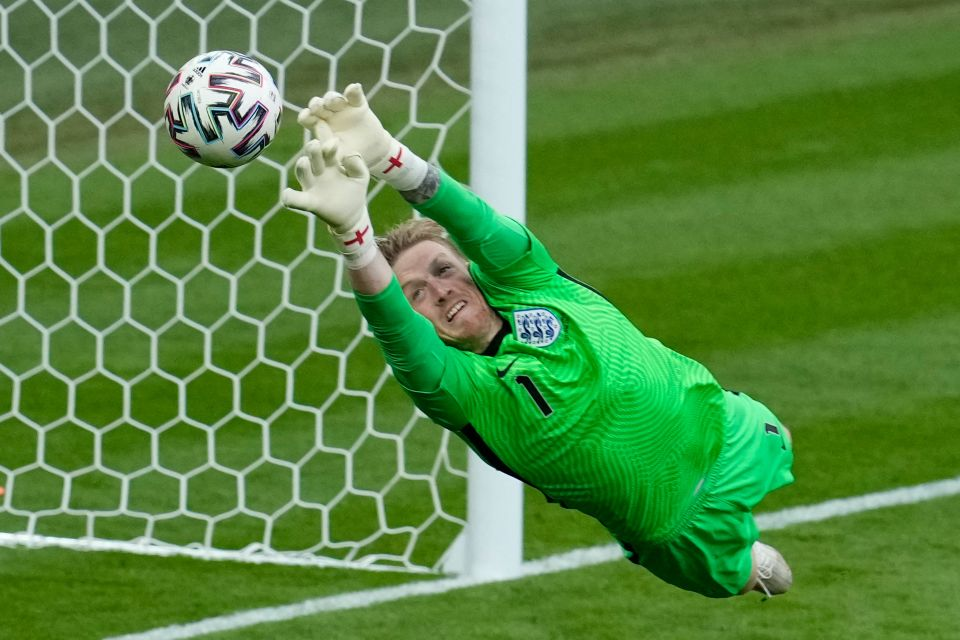The Everton keeper has made a couple of excellent saves to preserve England's clean sheets